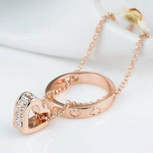 Roxi Rose Gold Heart Pendant Necklace